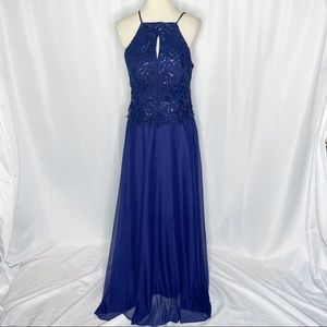 Cachet Sapphire Blue Sequined Halter Formal Gown